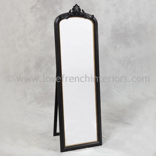 Black and Gold Tall Slim Dressing Mirror